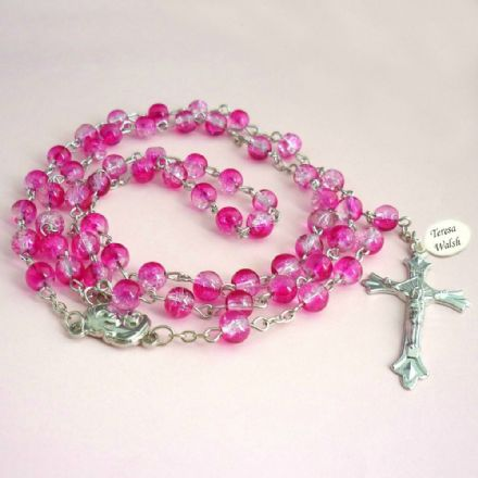 Rosary Beads in Pink with Engraving